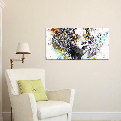 Frameless Hand-painted Abstract Canvas Oil Painting Girl Wall Art Decor D