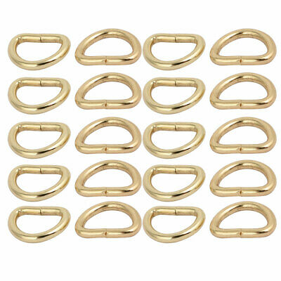 13mm Inner Width Zinc Alloy Half Round Non Welded D Ring Light Gold Tone 20pcs