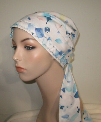 Womens Chemo Watercolor Cancer Hat Alopecia Hair Cover Pre-Tied Scarf