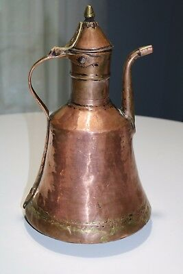 Vintage Hand Forged Dovetailed Copper Water Pitcher Kettle or Ewer - Hammered