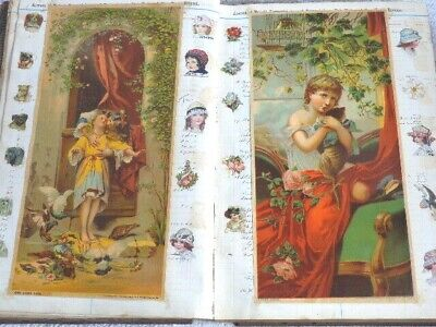 Antique Victorian Scrapbook Album Ledger with 102 Pages / 204 Sides