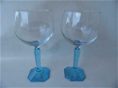 2 x BOMBAY SAPPHIRE BLUE STEM GLASS GIN & TONIC GLASSES MENS BAR COLLECTABLE