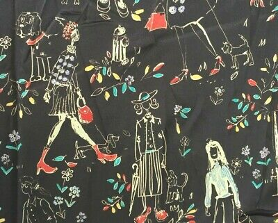 Rare Hamil Textiles Group Design Ladies Walking Dogs Flowers Purses fabric 2+yd