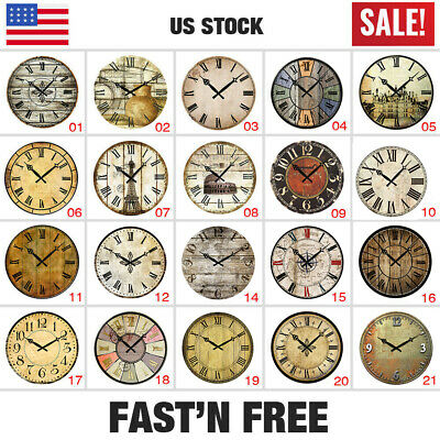 "38cm 15"" Wooden Wall Clock Vintage Antique Shabby Home Decor Gifts Large Silence"