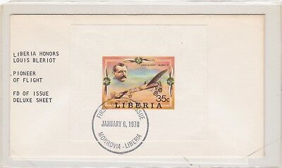 Rare Liberia Louis Bleriot 1978 Deluxe First Day Cover Only 20 Covers Exist 46*