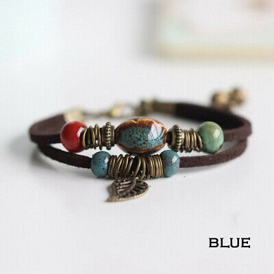 Vintage Boho Double Layer Rope Leather Leaf Beads Bracelet Jewelry For Women Men