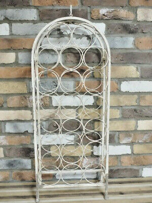 Rustic Metal Wine Rack Vintage Style 20 Bottles Holder Storage Cabinet Stand New