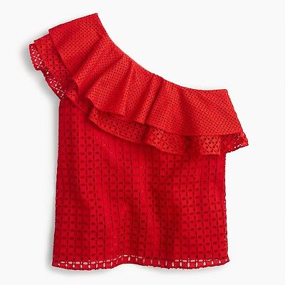 dd387f5772288 J CREW  98 Sunset Red One-Shoulder Ruffle Top in Eyelet Fiery Size ...