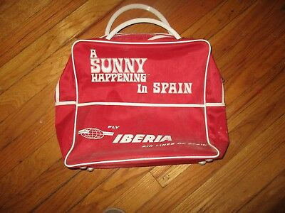 Orig 60's/70s IBERIA AIRLINES Red Plastic Flight Bag A Sunny Happening In Spain