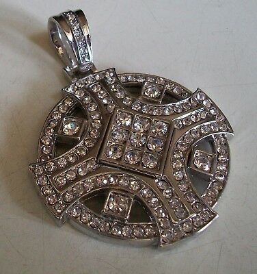 Silver Finish With Clear CZ Hip Hop Bling Elegant Fashion Rapper Style Pendant