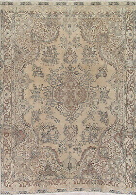 VINTAGE! Persian Oriental Hand-Knotted Wool 8x11 GOLD BROWN Distressed Area Rug