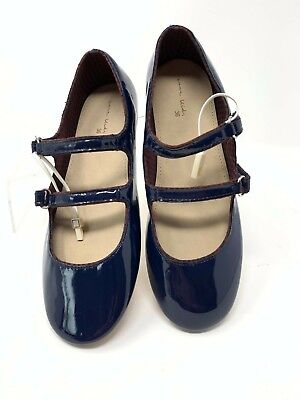 Spot On H2344 Girls Navy Synthetic Patent Rip Tape Strap Shoes Kett R59B