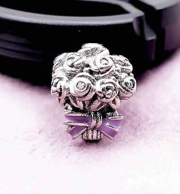 d076c14a5 Authentic Pandora silver Celebration Bouquet Charm Lilac Pink Purple 797260