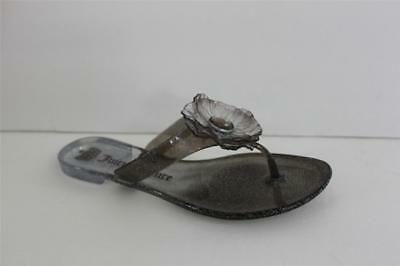 4946afe8b21 Womens Juicy Couture Lordes Size 6 M Gray Translucent Jelly Upper Flat Shoe  NIB