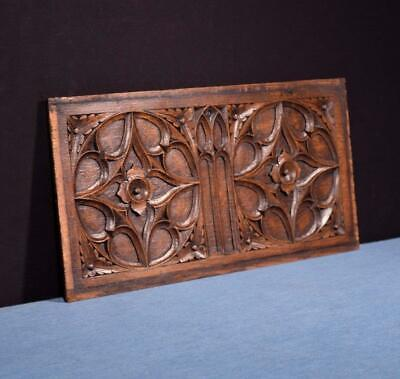 *French Antique Gothic Revival Panel in Oak Wood Salvage 2
