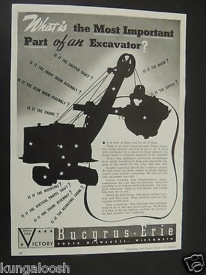 1943 Drill For Victory Bucyrus - Erie Excavator Vintage Art Print Ad