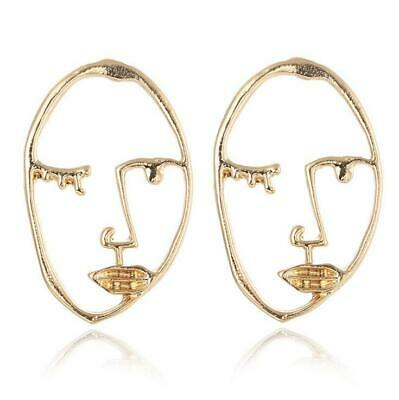 Pair of hollow abstract face/head dangle stud earrings art deco
