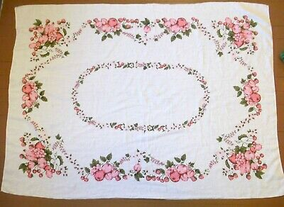 Vintage Retro 60's White Linen Tablecloth with Pink Floral Berries Fruit 48x66