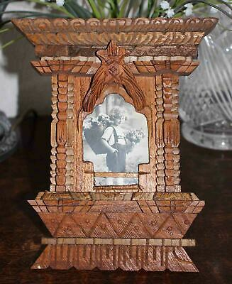 Vintage Wooden Blackforest Style Hand Carved Window Theatre Balcony Photo Frame