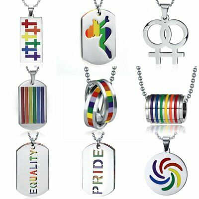 Women Men Stainless Steel Rainbow Flag LGBT Pride Gay Pendant Necklace Gifts New