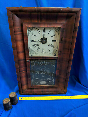 Antique Large Waterbury Wood Clock Reverse Painted Glass Weighted 26x16x4