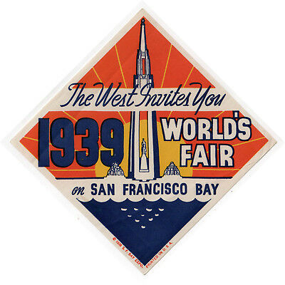 1939 SAN FRANCISCO Golden Gate Exposition WORLD'S FAIR Decal TREASURE ISLAND CA