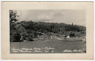 MACHIAS MAINE RPPC RP Real Photo Postcard SCENIC HILLSIDE LODGE Cabins OCEAN