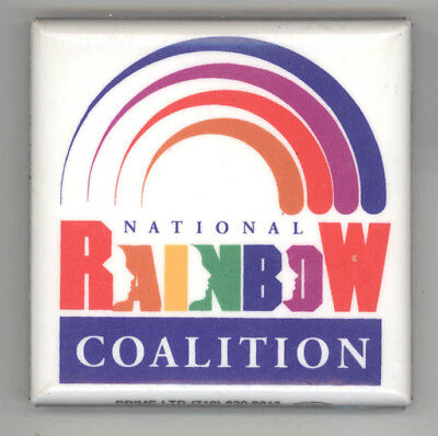 NATIONAL RAINBOW COALITION Political PIN Button PINBACK Badge JESSE JACKSON Push
