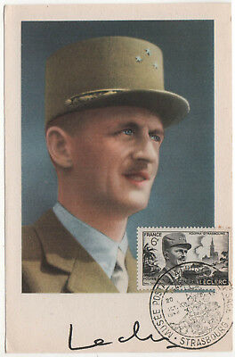 FRANCE French Military PC Postcard CANCELLATION General Philippe Leclerc WAR