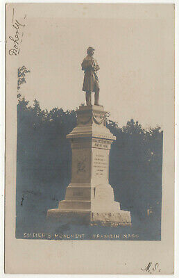 FRANKLIN MASSACHUSETTS RPPC RP Real Photo Postcard SOLDIER'S MONUMENT Mass MA