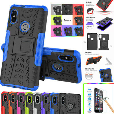Hybrid Heavy Duty Stand Case Temered Glass Film For Xiaomi F1 Redmi Note 5 Pro