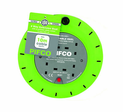 PIFCO 10M & 4 Way 13 AMP Electric Extension Cable Reel Mains Plug & Socket Lead