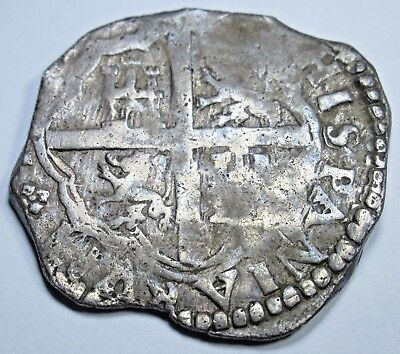 1600s Spanish Silver 4 Reales Piece of 8 Real Colonial Pirate Treasure Cob Coin