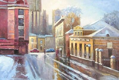 Moscow streets, original Russian oil painting  A. Konin 62x92 cm -  24x36""
