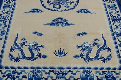 Circa 1920s ANTIQUE ART DECO CHINESE DRAGON DESIGN RUG 5x8 DRAGONS IN CLOUDS