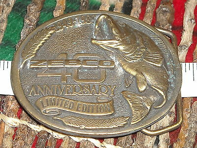 vintage Zebco 40th anniversary limited edition 1949-1989 fishing belt buckle bas