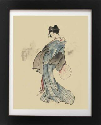Antique Beautiful Japanese Woman & Fan Kimono GEISHA Japan RP Fine Art Print