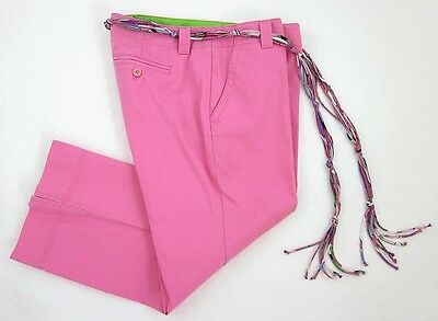 Lilly Pulitzer Palm Beach Fit Sz 4 Crop Pants Pink Knotted String Matching Belt