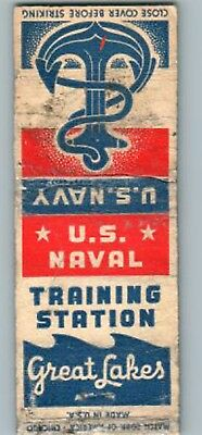 Rare World War 2 Usa Home Front Naval Trng Station Great Lakes Il Matchbook Covr