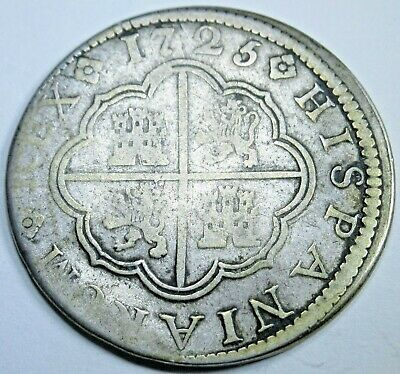 1725 Spanish Silver 2 Reales Piece of 8 Real Colonial Era Two Bits Pirate Coin