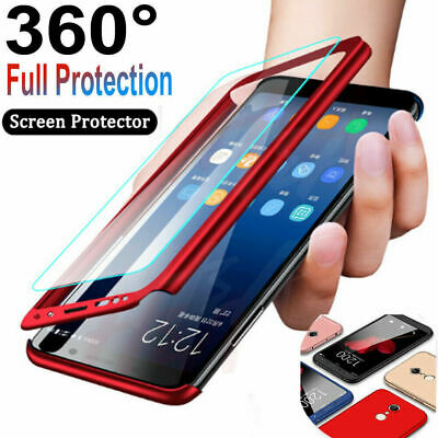 360° Full Case + Tempered Glass For Samsung Galaxy S7 Edge S8 S9 Plus Note 8 9