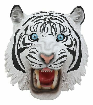 "Roaring Savage Blue Eyed White Siberian Tiger Head Wall Decor Plaque 8.5""Tall"