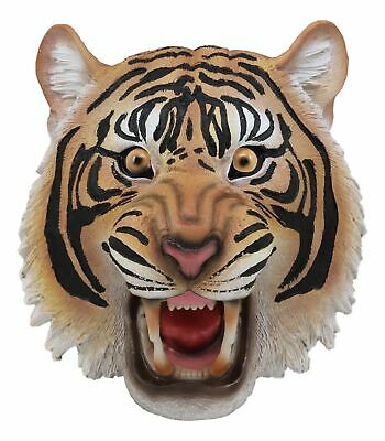"Roaring Fearless Orange Bengal Tiger Head Wall Decor Plaque 8.5"" Tall Taxidermy"