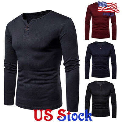 Fashion Men's Fit Slim V- Neck Long Sleeve Muscle Tee T-shirt Casual Blouse Tops