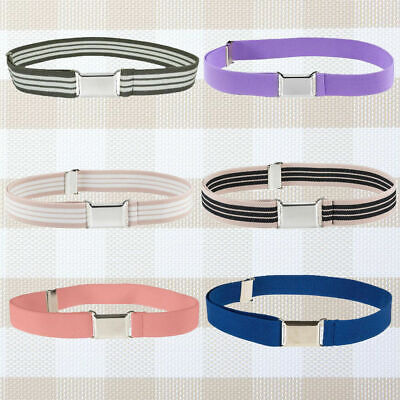 Kids Boys Girls Casual Waistband Adjustable Belt Band Buckle Pure Color Newly
