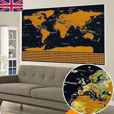Deluxe World Travel Scratch Off Map 42x30cm Holiday Poster Wall Paper Kid Gift G