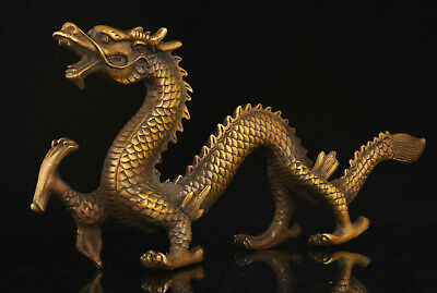 China Collectible Hand-Carved Exquisite Vintage Bronze Dragon Statue Ornament