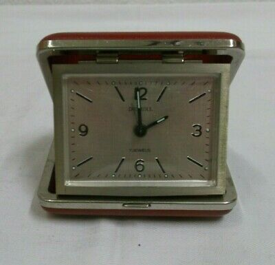 alter Reisewecker De Luxe Uhr mechanisch Messing rotes Etui Vintage clock