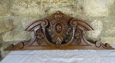 "31.5""  Antique French Hand Carved Wood Oak Pediment - Fruits"