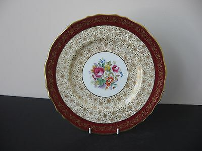 Vtg CAULDON CHINA ENGLAND BONE CHINA MAROON BAND GOLD FLORAL CHINTZ DINNER PLATE